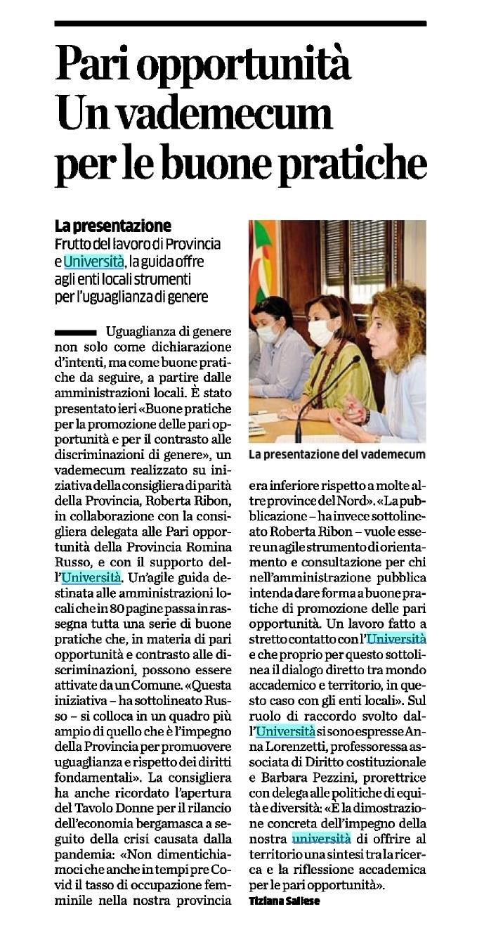 Vademecum pari opportunità UniBg - Provincia di Bergamo